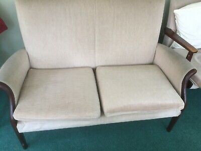 Parker Knoll Two Seater Settee Couch Sofa Mid Twentieth Century Retro Vintage