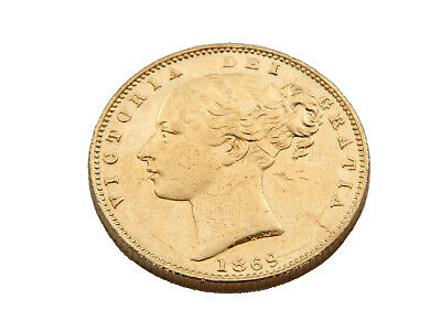 1869 Queen Victoria Full Sovereign 22ct Gold Die Number 35
