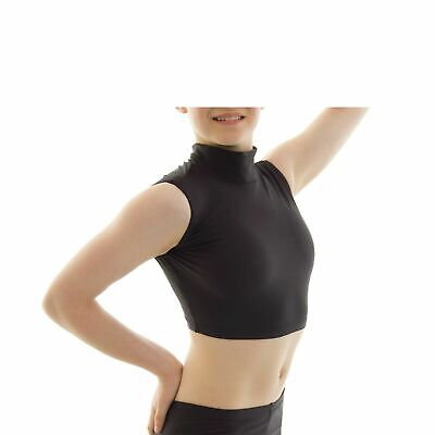 Girls Polo Neck Sleeveless Crop Top Nylon Lycra Casual Fitness Dance Wear