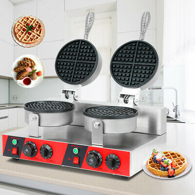 Commercial Electric Double Waffle Maker Non-Stick Waffle Bake Maker Dual Rotary