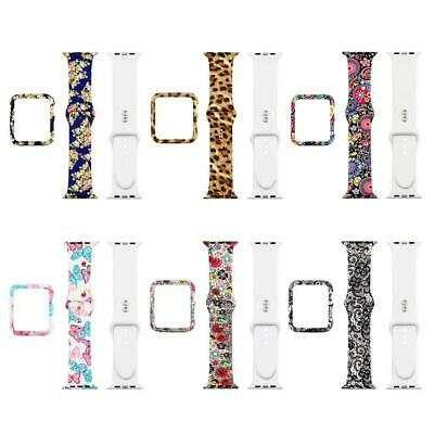 For iWatch Series 42/38/40mm Floral Flower Sport Silicone Band Strap Case Cover