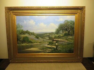 "24x36 org.1980 oil painting on board George Kovach ""Tx. Bluebonnet Hill Country"""
