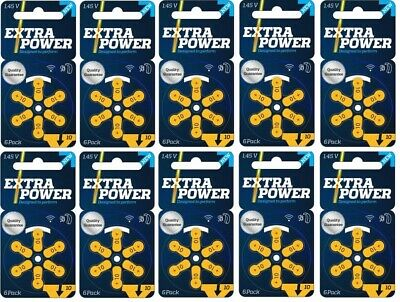 ExtraPower hearing aid batteries (Size 10) - 10 cards (60 cells) MF