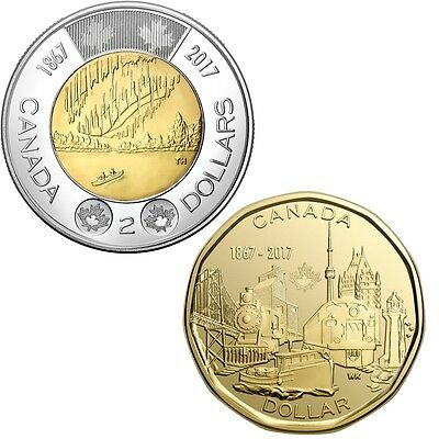 CANADA 2017 New Loonie/Toonie Kit 150th Anniversary of CANADA  (BU from roll)