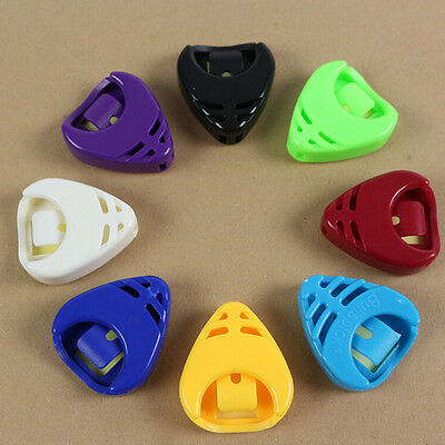 Colorful Plactic Guitar Pick Plectrum Holder Case Box Portable Heart ShapODCA