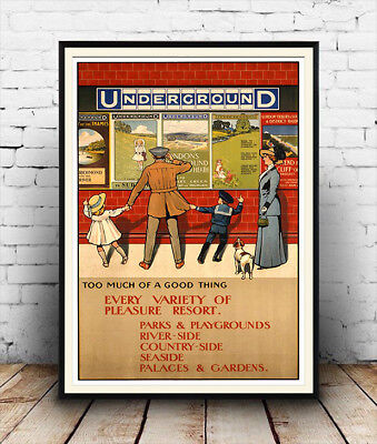 Eastertide 1934 LONDON UNDERGROUND Retro Advertising Travel Poster A1A2A3A4Sizes