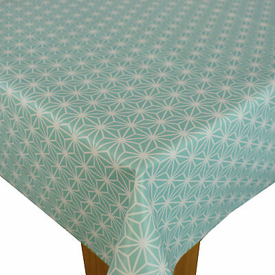 Duck egg Geometric Triangle PVC Vinyl Wipe Clean Oilcloth Tablecloth
