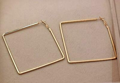 """18K Gold Filled 2.8"""" Earrings Big Square Hollow Simple Dangle Women Party DS"""