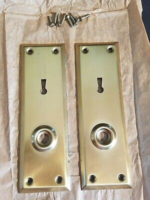 Vintage Brass Plated Door Knob Skeleton Keyhole Plate Escutcheon Cover A4