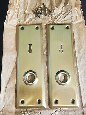 Vintage Brass Plated Door Knob Skeleton Keyhole Plate Escutcheon Cover A5