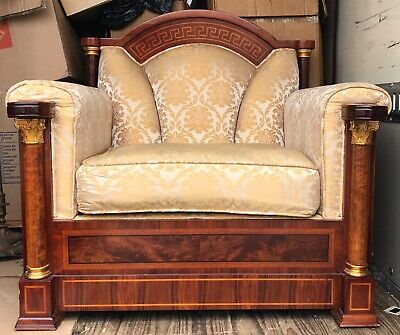 Grecian Empire Antique Style Armchair Tub Club Chair Upholstered