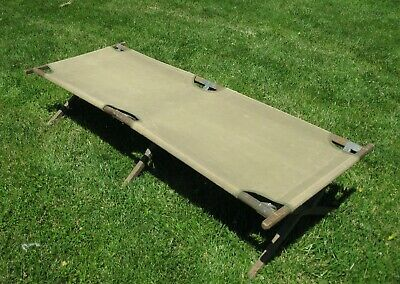 WW2 U.S. Army Wood and Canvas Cot Complete Dated 1945 Excellent Condition
