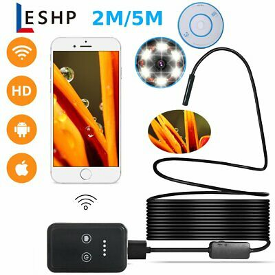 2M 5M 6LED WiFi Borescope Endoscope Inspection Camera for iPhone Android BE