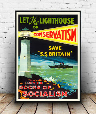 Conservative 1929 political information  poster reproduction.