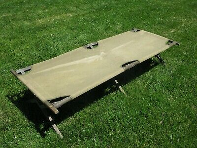 WW2 U.S. Army Wood and Canvas Folding Cot Complete Original Excellent Condition