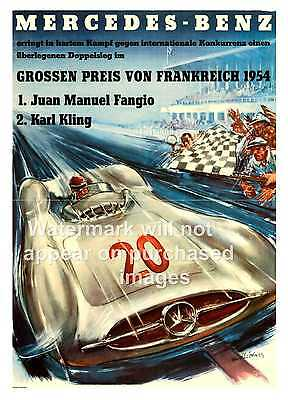 poster wall art Mercedes Benz racing old magazine advert reproduction.