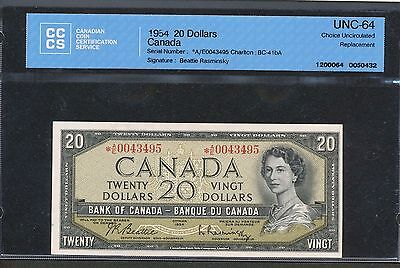 1954 $20 Bank of Canada *AE A/E Replacement note CCCS UNC-64. BC-41bA BV $985