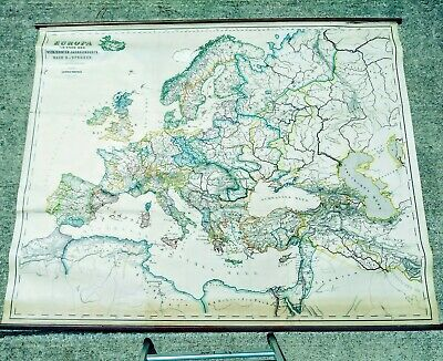 Original Europe 14th Century Map Large RARE 1846 Hand Colored Germany Italy