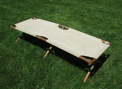 WW2 USMC USN Wood and Canvas Folding Cot Complete Original Excellent Condition