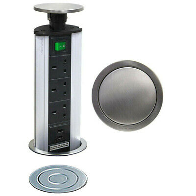 POP UP Power Tower 3 Socket 2 USB w/ Safety Switch TOP Socket Worktop Extension