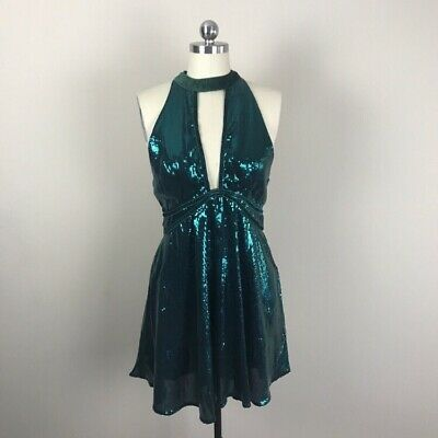 c4d5e947 Free People Film Noir Sequined Halter Mini Dress Womens Green Sz 8 NWT