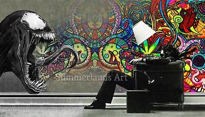 Psychedelic Alien Trippy Wall Art Poster Canvas FINE ART PRINT Very Rare Large