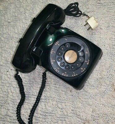 Vintage 1950's Western Electric Bell System Black Rotary Desk Phone C/D 500 Nice