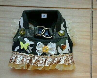 Designer size X Small /chihuahua/puppy camouflage  leaperd frilly harness dress.