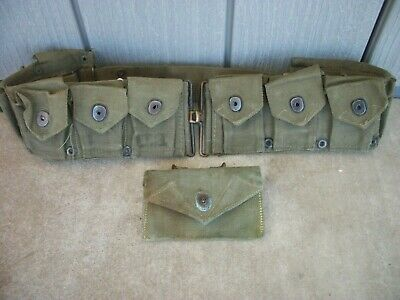 VINTAGE WW2 1940 WEB BRITISH AMMO POUCH & 1944 MECO WATER BOTTLE