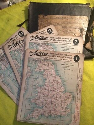 Driving Map Of England And Wales.The Autocar Sectional Road Map Of England Wales Circa 1930s
