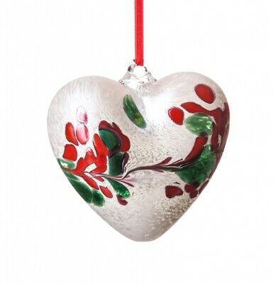 Amelia Frosted Friendship Heart 100mm in Red, Green & White Mouth Blown