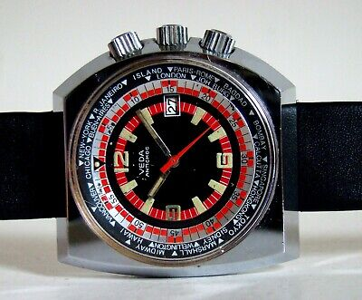 VEDA GMT Armbanduhr asymetrisch markant Date vintage GMT watch Space Age 60s TOP