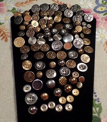 Mixed Estate Lot Of 100 Antique & Vintage Metal  Buttons
