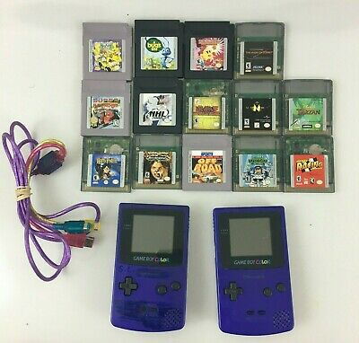 Nintendo 2 Game Boy Color LOT - 14 Games - Purple - NEEDS TLC