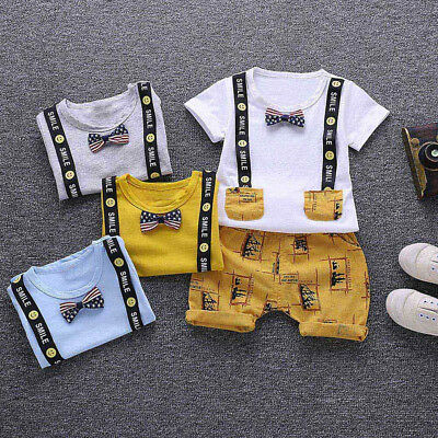 2Pcs Toddler Baby Kids Boys Letter Print Smile Tops+Pants Outfits Clothes Set
