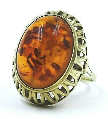VINTAGE Ladies 8ct Yellow Gold & Authentic Amber Ring - VAL $655