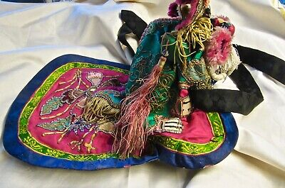Antique Chinese Silk Embroidered Tiger Child Hat From Xian