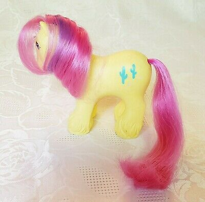 1987 G1 Hasbro MY LITTLE PONY Ponies MLP Flat Feet Tex Cactus Yellow Clydesdale