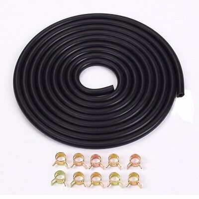"""3mm 1/8"""" Silicone Vacuum Hose 3 Meter 10ft Black With Spring Band Clip X10"""