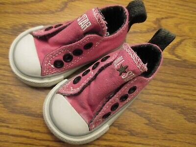 Converse All Star size 2 pink & navy blue no-lace athletic shoes Ex.