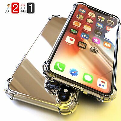 For iPhone XI Pro Max XR XS Max 7 8+ Shockproof Silicone Bumper Clear Hard Case