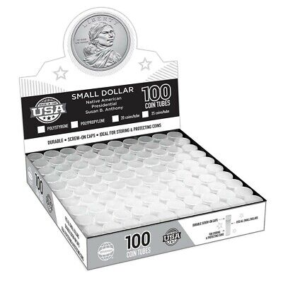 100 Harris Round Poly Coin Tubes US Small Dollar Anthony Sacagawea Presidential