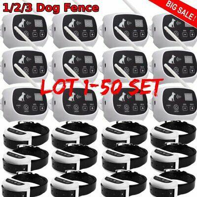 1-50X Wireless Electric Dog Pet Fence Containment System Transmitter Collar LOT