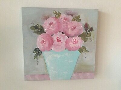 ~ ~Shabby Cabbage PINK Roses ~ Blue Pot ~ Still Life Oil PAINTING Wall Decor