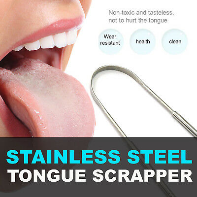 Stainless Steel Metal Tongue Scraper Cleaner For Bad Breath Oral Health Clean