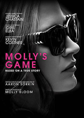 Molly's Game DVD Jessica Chastain, Idris Elba, Kevin Costner, Michael Cera