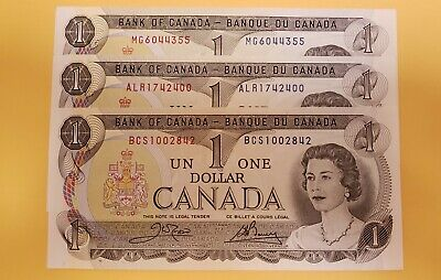 3 Canadian crisp choice uncirculated 1973 One Dollar with different prefexes