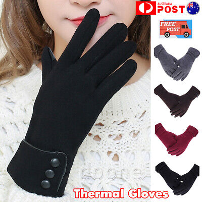 Women Girl Soft Thermal Gloves Touch Screen Winter Warm Full Finger Mittens AU