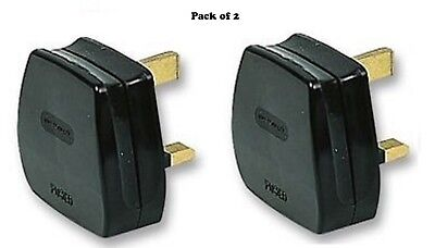 Pack of 2- UK MAINS PLUG, BLACK (3A FUSE FITTED)