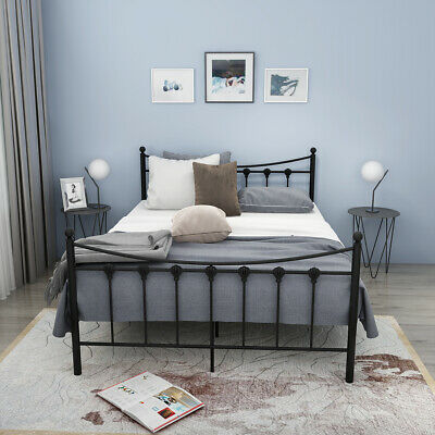 Double Metal Bed Frame Standard Bedstand 4FT6 Beds Strong Structure